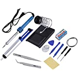 Electronic/Wood Tools Kit Complete Set Soldering Beginner Equipment DIY Hand Craft Toy Tools Suitable for Electronics hobbies kits, Wood burning and Repair work Idea Inventor Gifts EWSL02