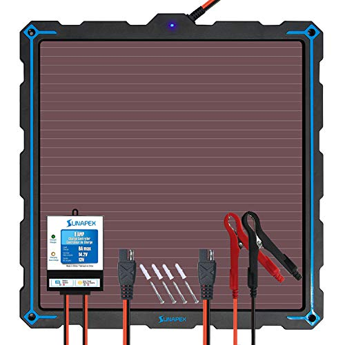 SUNAPEX-Upgraded-9W-Solar-Panel-Battery-Charger-Maintainer, External Smart 3-Stages PWM Charge Controller, 12V Solar Trickle Charging Kit for Car, Marine, Motorcycle, RV, etc