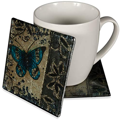 AngelStar 19058 Handmade and Hand-Painted Glass Blue Butterfly Coaster, 4-Inch, Set of -