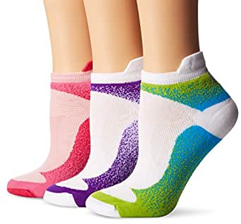 Wigwam Women's Ironman Flash Pro Low Cut Running Sock 3-Pack, Purple/Bright Rose/Ocean Blue, Medium