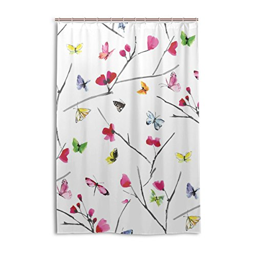 WOOR 48 X 72 Inches Butterfly Fabric Shower Curtain Set with Hooks Bathroom drape Waterproof Polyester