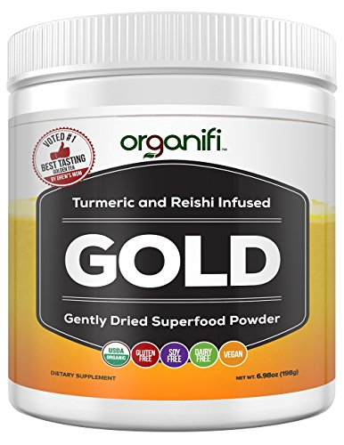 Acacia Body Milk - Organic Superfood Powder- Organifi Gold Super Food Supplement - 30 Day Supply - Experience Deeper Sleep- Boosts Immune System and Cognitive Function - Turmeric and Reishi Infused - Golden Milk - Detox