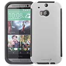Fosmon® HTC One (M8) Case (HYBO-SNAP) Full-Body Hybrid Protective Case Cover with Built-In Screen Protector for HTC One (M8) 2014 - Fosmon Retail Packaging (White)