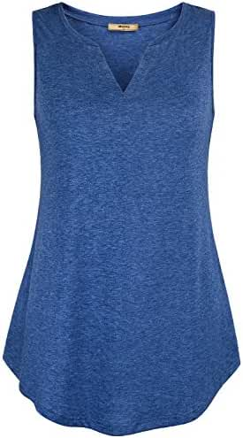 Miusey Womens Sleeveless V Neck Casual Henley Tank Tops