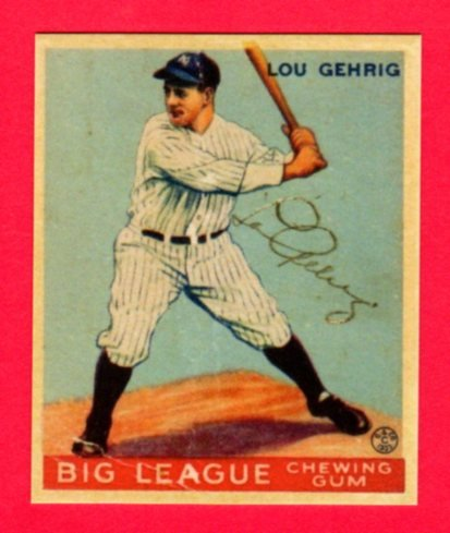 Lou Gehrig 1933 Goudey Baseball Reprint ROOKIE Card #160 (w/Facsimile Signature on front of card) Original Back and Size (160 Rookie Football Card)