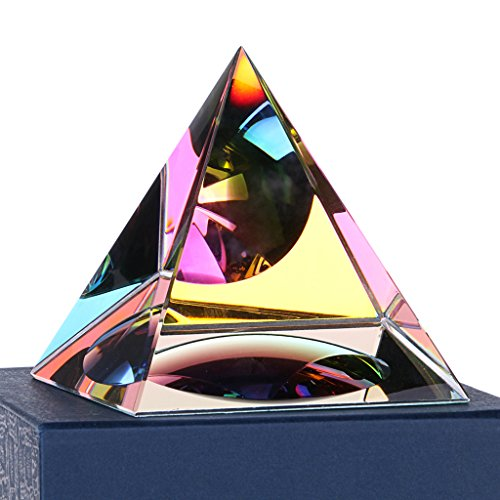 - Sumnacon Crystal Photography Iridescent Pyramid Rainbow Colors with Lovely Gift Box - Used to Meditation, Paperweight, Decoration Etc, Truly Beautiful Object for Home, Office or As Gift (4 Inch)
