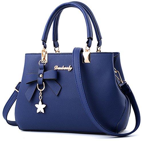 Dreubea Womens Handbag Tote Shoulder Purse Leather Crossbody Bag Royal Blue