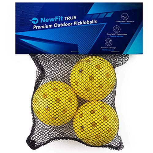 NewFit True Pickleball Balls - Premium Outdoor Pickleballs - Durable and Quiet Yellow Colored Outside Pickleballs - Pickleball Ball Bag Included