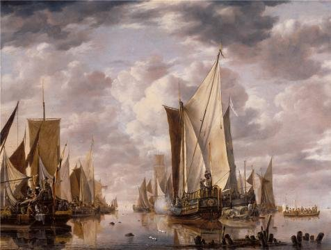 [Oil Painting 'Shipping In A Calm At Flushing With A States General Yacht Firing A Salute,1649 By Jan Van De Cappelle' Printing On Perfect Effect Canvas , 30x40 Inch / 76x101 Cm ,the Best Living Room Gallery Art And Home Decoration And Gifts Is This Amazing Art Decorative Prints On] (Gopher Costumes)