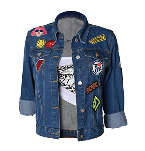 Veste Breasted Zhiyuanan Blouson Fonc Tridimensionnel Bleu Manches Manteau Femme Single Jean Denim Baggy Broderie Longues Lapel XXqptS