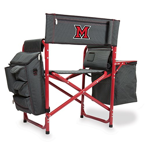 NCAA Miami University Digital Print Fusion Chair, Dark Grey/Red, One Size by PICNIC TIME