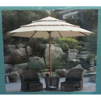 Amazon com : Sunbrella Wooden Market Umbrella 11' Tilt Patio Tan New