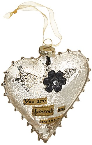 Demdaco 2020150337 You Are Loved Glass Heart Ornament