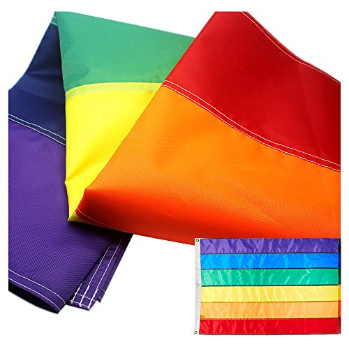 VSVO LGBT Rainbow Flag 3x5 Foot with Sewn Stripes - Brass Grommets - UV Protection - Gay Pride Flags ()