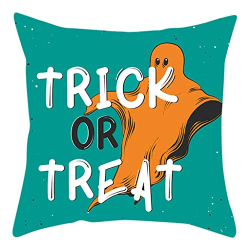 Jocome Throw Pillow Case,Halloween Print Hug Pillowcase Green Linen Trimmed Tailored Edges Throw Pillow Case Cushion Covers Green -