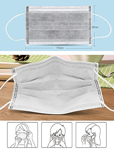 (50 PCS indivisual) Disposable Germs Flu Pollen Procedure Surgical Face Mask Sanitary Masks Earloop Dust Fliter Mask Mouth Cover for Medical Dental, Nail Salon, Paint, Cleaner,Garden by IPENNY (Image #5)