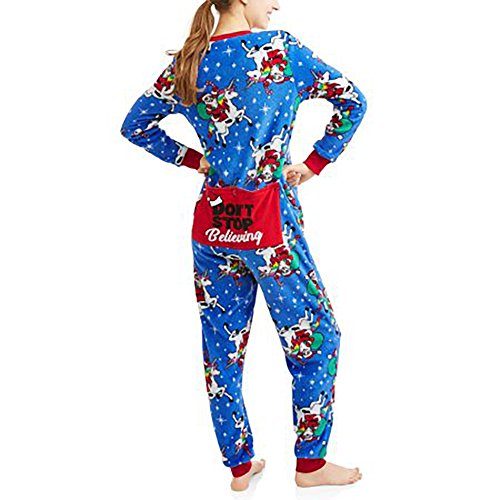 Womens Christmas Holiday Santa Unicorn Dropseat Pajama Union Suit One Piece Sleepwear (Santa Unicorn, XL 16/18)