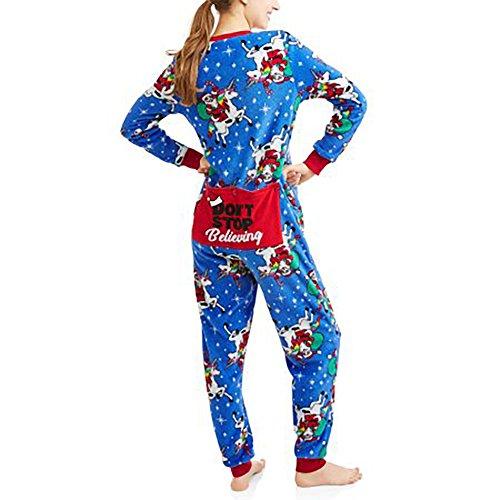 Womens Christmas Holiday Santa Unicorn Dropseat Pajama Union Suit One Piece Sleepwear (Santa Unicorn, S 4/6)