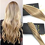 Sunny 14 inch Remy Real Tape in Hair Extensions Dark Ash Blonde with Golden Blonde Highlighted Seamless Glue in Human Hair Extensions 10pcs/25g per Pack