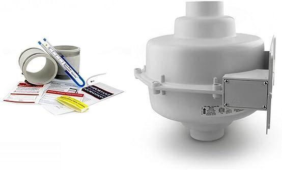 RadonAway GP501 Radon Fan Install kit Two 3 x3 White Couplings U-Tube Vacuum Gauge Radon System Labels