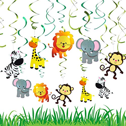 Maitys 30 Pieces Jungle Animals Hanging Swirl Decorations Green Safari Party Animal Ceiling Hanging Swirls for Baby Shower Forest Animal Theme Kids Decoration -