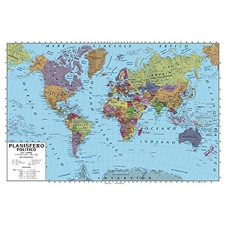 Carta Geografica Murale Planisfero Mondo 100x140 Scolastica
