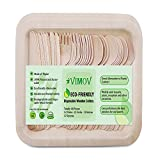 48 Pieces VIMOV Disposable Wooden Cutlery Set Eco-Friendly Party Tableware - Plates (12), Forks (12), Knives (12), Spoons (12)