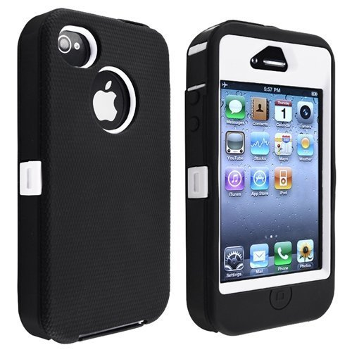 Multi Color Hybrid Body Armor Rubber Silicone Cover Case For Iphone 4 4S,Hard Soft High Impact Hybrid Armor Case Combo,Three Layer Silicone PC Case Cover for iPhone 4 4S 4G (Black+White)