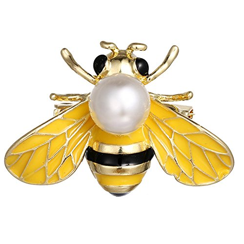 Bumble Bee Pin - dwcly Exquisite Yellow Enamel Big Bumble Bee Brooch Pin White Fresh Water Pearl Lapel Safty Pin