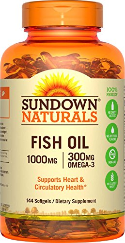 Sundown Naturals Fish Oil 1000 mg, 120+24 Bonus Softgels