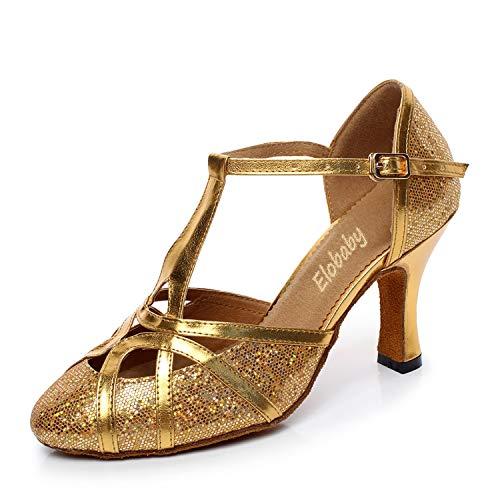 Waltz Toe yc 33 Da Ballo Scarpe Gj taglia Chiuso L Salsa Golden 56 Ballano 45 Donna Glitter Che Samba Chunky qzPfPTW
