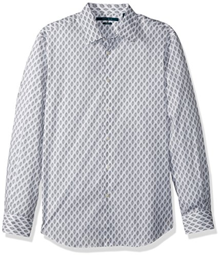 Perry Ellis Men's Long Sleeve Print Shirt, Bright White, Extra Extra Large