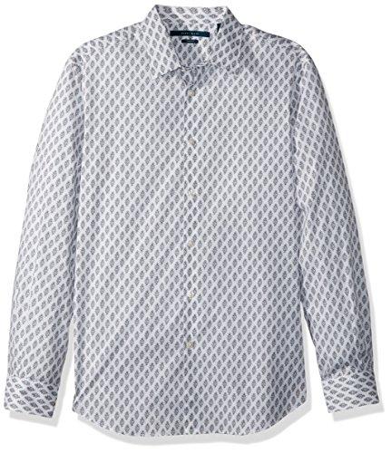 (Perry Ellis Men's Long Sleeve Print Shirt, Bright White, Extra Extra Large)