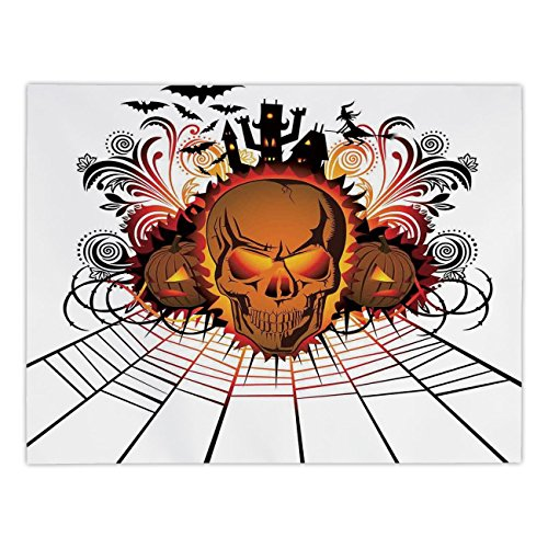 Polyester Rectangular Tablecloth,Halloween Decorations,Angry Skull Face on Bonfire Spirits of Other World Concept Bats Spider Web,Multi,Dining Room Kitchen Picnic Table Cloth Cover,for Outdoor Indoor]()