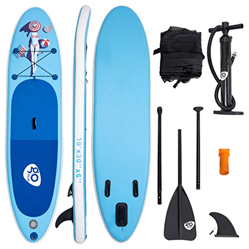 Goplus 10' Inflatable Stand Up Paddle Board Cruiser 6' Thickness iSUP Package w/3 Fins Thuster, Adjustable Paddle, Pump Kit and Carry Backpack (Blue)