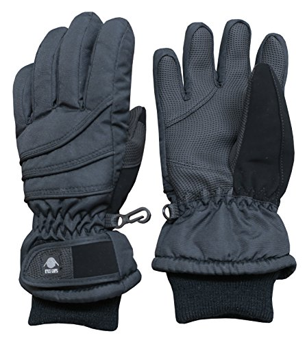 N'Ice Caps Kids Bulky Thinsulate Waterproof Winter Snow Ski Glove With Ridges (Black Solid, 8-10yrs) Youth Kids Glove
