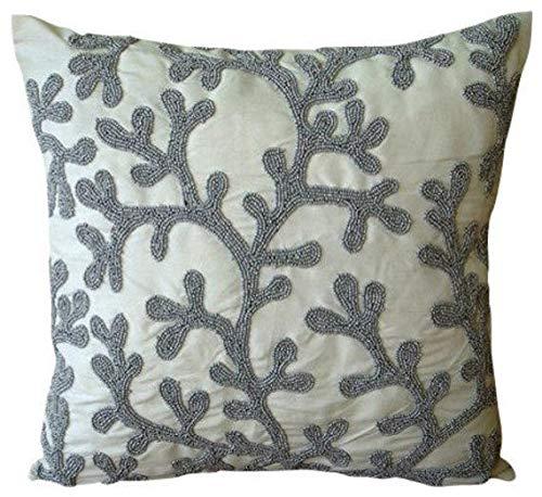 Designer Silver Pillow Cases, Mediterranean Floral Throw Pillow Covers, 12