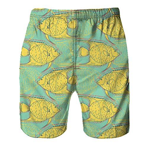 NUWFOR Men Casual 3D Graffiti Printed Beach Work Casual Men Short Trouser Shorts Pants(Yellow,US:S Waist26.0-29.9'') by NUWFOR (Image #3)