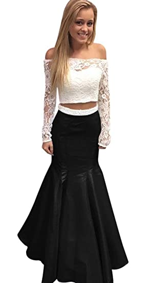 830aeac1772 Lace Long Sleeve Mermaid Prom Dresses 2018 Sexy Off The Shoulder Two Piece  Formal Gown Black