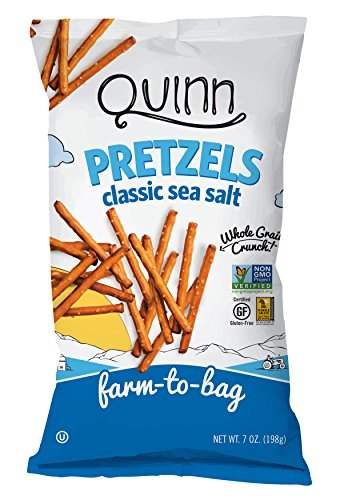 Quinn Snacks Non-GMO and Gluten Free Pretzels, Classic Sea Salt, 7 Ounce (3 Count)