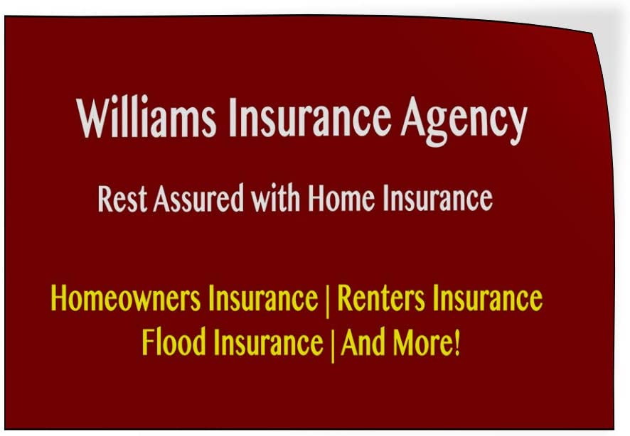 Custom Door Decals Vinyl Stickers Multiple Sizes Company Name Home Insurance Agency Red Business Insurance Agency Outdoor Luggage /& Bumper Stickers for Cars Red 24X18Inches Set of 10
