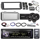 """Harley Audio Package Of Pioneer DEH-X6800BT Bluetooth CD MP3 Stereo Receiver Bundle Combo With Dash Trim Kit + Radio Cover + 4x 5.25"""" Speaker + 4 Channel Amplifier W/ Install Kit + HandleBar Conroller"""