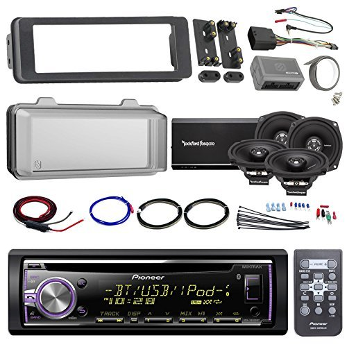 Harley Audio Package Of Pioneer DEH-X6800BT Bluetooth CD MP3 Stereo Receiver Bundle Combo With Dash Trim Kit + Radio Cover + 4x 5.25