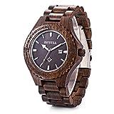 Bewell W023A Natural Wooden Watches for Men with Calendar Quartz Lightweight Wrist Watch