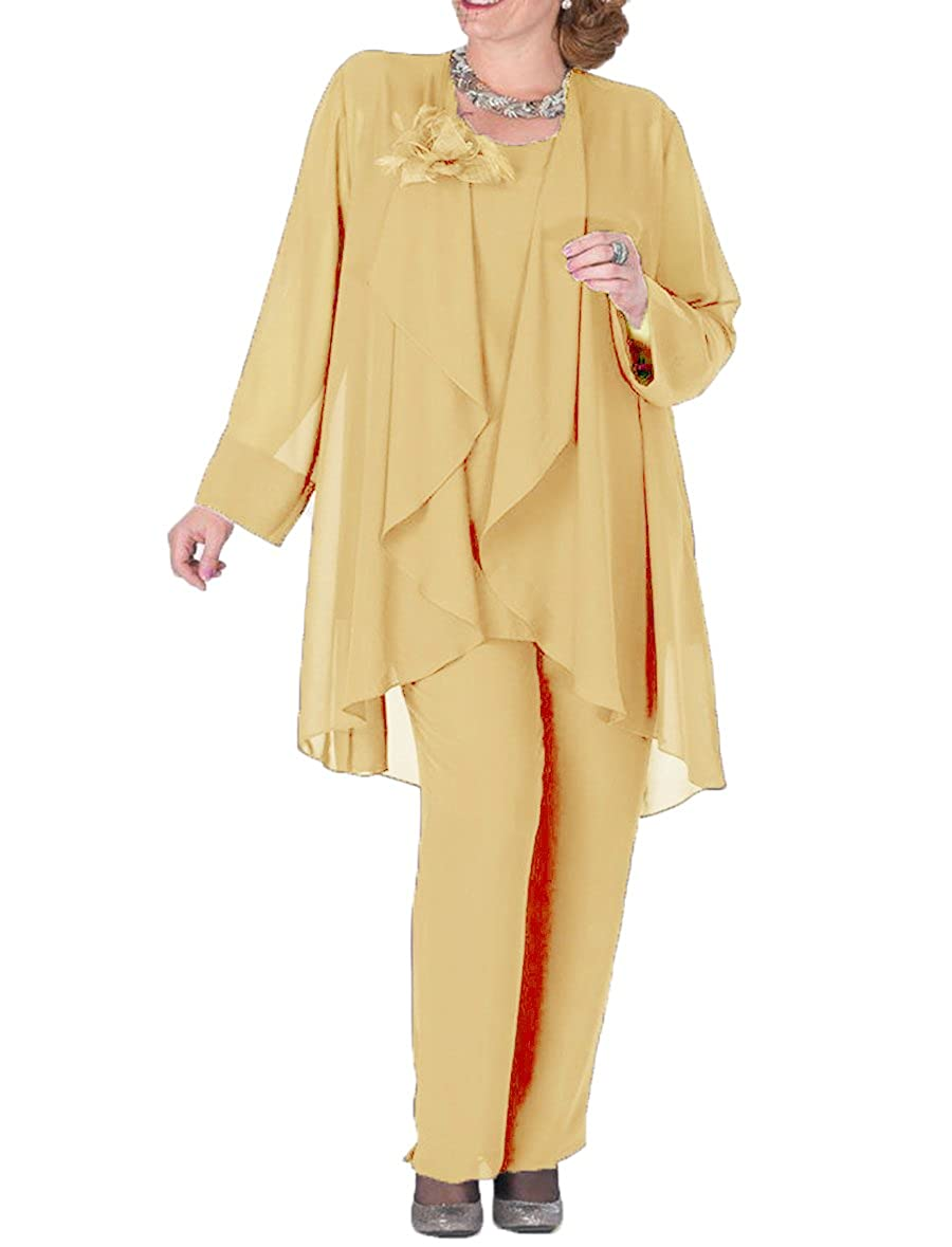 gold The Peachess 3 Pieces Mother Pantsuits with Jacket Plus Size Formal Outfits