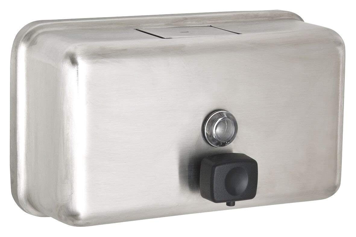 Alpine Manual Surface-Mounted Stainless Steel Liquid Soap Dispenser, 40 oz Capacity (Horizontal)