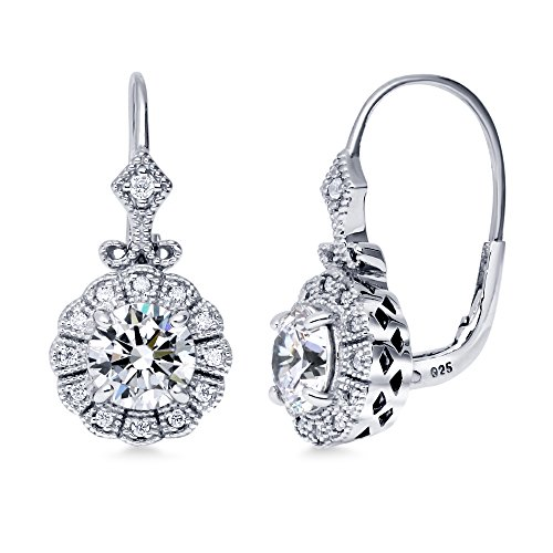 BERRICLE Rhodium Plated Sterling Silver Cubic Zirconia CZ Art Deco Leverback Dangle Earrings