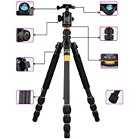 Flexzion Camera Complete Tripod Stand Monopod Ball Head Carbon Fiber Portable Travel Compact Holder with Extension Legs Pocket Kit For Digital DSLR Canon Nikon Sony Olympus Pentax