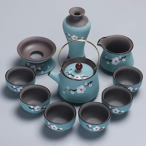 中国茶カップ コーヒーセットRedware手描きポータブルトラベルカンフー茶器ティーカップセット(グリーン) (Color : Green)