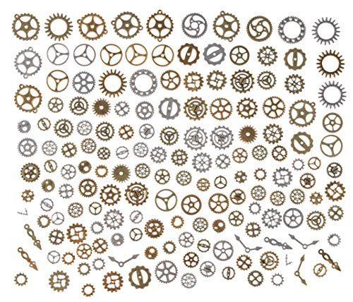 Antique Charms - 160-Piece Antique Jewelry Charms, Assorted Steampunk Metal Wheel Gear Cog Pendant Charms for Jewelry Making, Small Craft Supplies and Jewelry Findings for DIY Necklaces, Bracelets]()